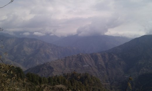 View of snow capped Himalayas from Lal Tibba