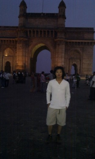 Posing in front of the gateway