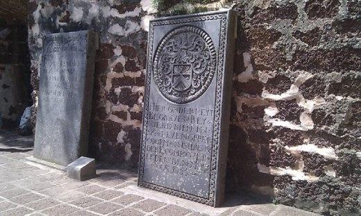Grave stones inside Saint Paul's Church