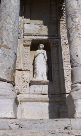 Statue outside Library of Celsus