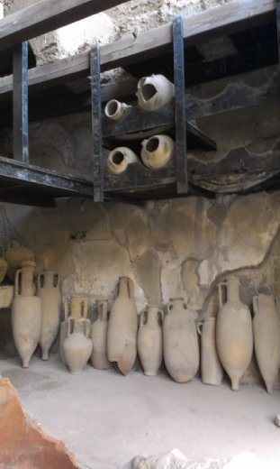 Preserved pottery at shop