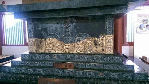 Yakushiji Temple - Relief with images of Nikko Bosatu (Bodhisattva, suryptabha) and Gakko Boasts (Bodhisattva, candraprabha). Right and left respectively