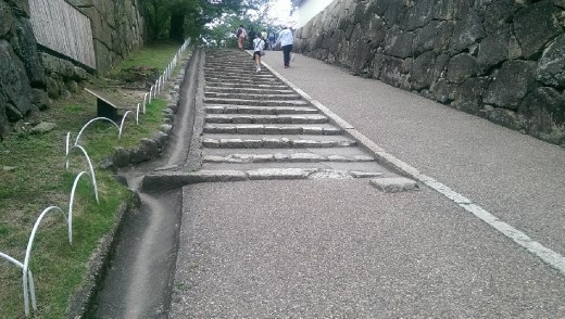 Nishi-no-Maru or the West Baily. Note the rectangle stone at the bottom of the steps. THis is where the soldiers would muster.