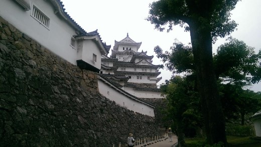 View of Himeji Castle after passing through Ha-no-Mon
