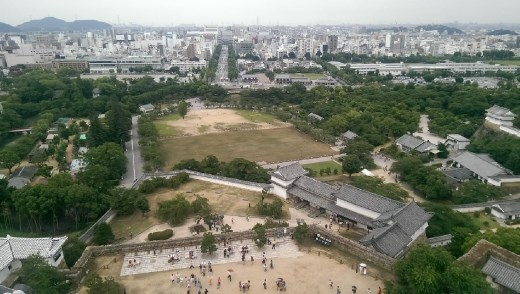 Another view from the top. Himeji Station is at the end of the big long straight road.