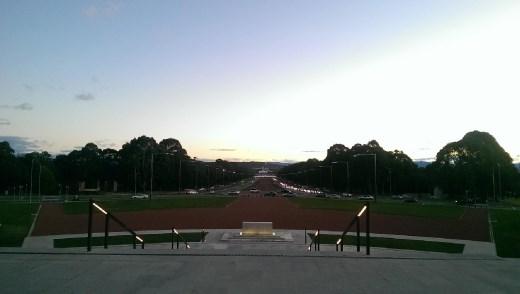 Sunset of the war memorial