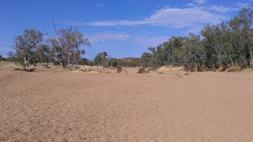 The dry riverbed of Todd River
