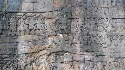 Bayon - Bas relief depicting a sea battle