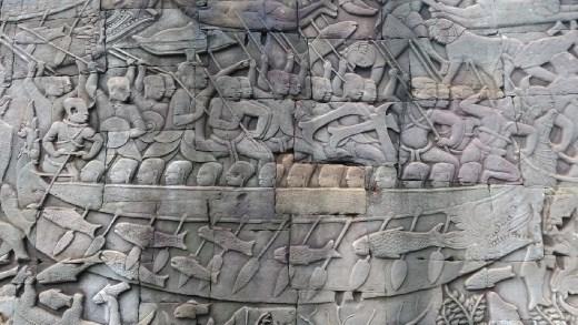 Bayon - Bas relief depicting a sea battle