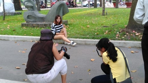 Some kind of photoshoot in Tao Dan Park