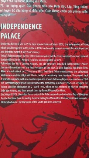 Description of The Independece Palace