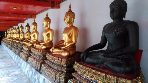 Buddha statues in pavilion of Phra Buddha Deva Patimakorn