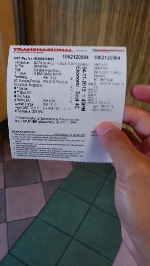 Transnasional ticket from Kota Bharu to Kuala Terrengganu