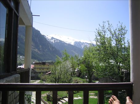 This is the view from our hotel balcony in Manali where we would drink Chai in the mornings.