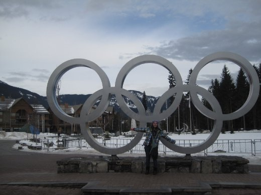 Posing with the olympic rings in Whistler Village