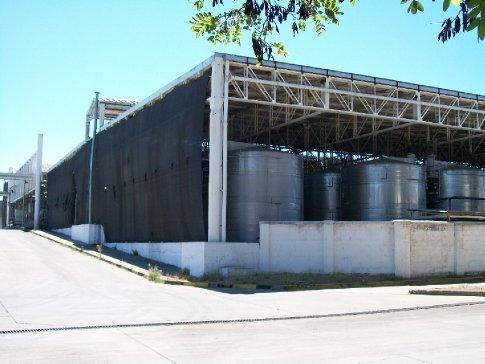 Adegas de fermentação, maturação e pressão dos vinhos - na maior parte, os vinhos mais simples, que não chegam a maturar em barris de carvalho (Gato Negro).