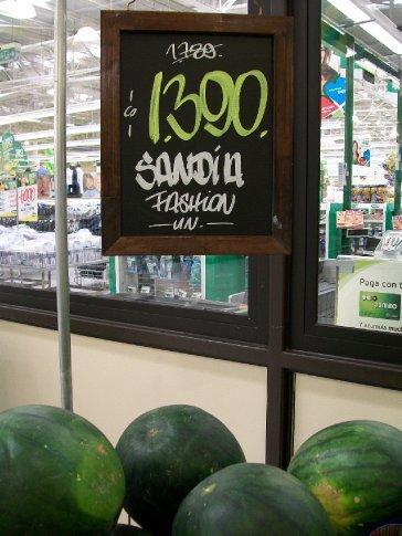 Particularidade hortifrutigranjeira chilena (PHC) 1: resolveram que a melancia grande, ovalada e saborosa que conhecemos estava fora de moda por aqui...