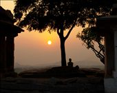 A lone observer for the sunset at Hampi: by manjuka, Views[140]