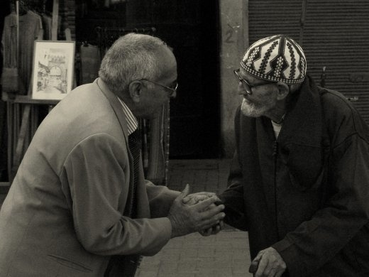 In a lost corner in Marrakesh, old-friends meet for a quick chat...