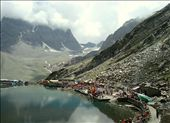 Hindu devotees around holy Manimahesh lake with Mount Kailash in background.: by manumint, Views[411]