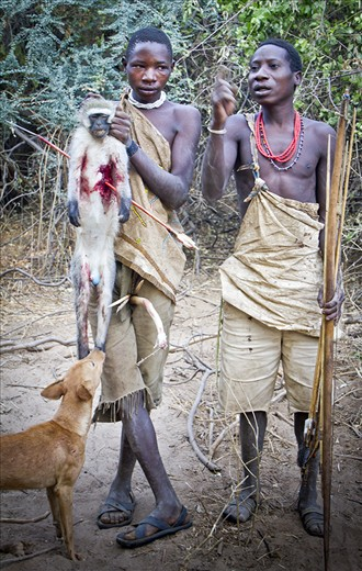 An early morning hunt with hunters from the Hadzabe tribe, Lake Eyasi, Tanzania