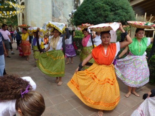 colourful parade in Oaxaca
