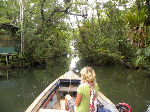 Leaving the jungle on Rio Dulce.