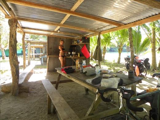 Beach kitchen at Pochote.