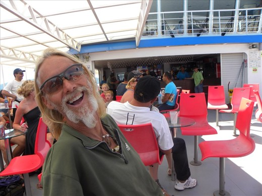 James on the ferry from Paquera to Puntarenas on the Gulf of Nicoya