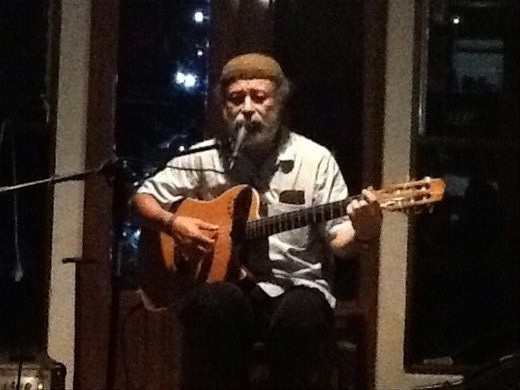 Manuel Monestel - great friend and musician we stayed with in San Jose. Here performing in his house on New Years Eve.
