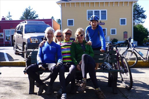 Friends from Marin, on vacation in Poulsbo, rode aus out to Port Gamble to send us off to the Olympic Peninsula.