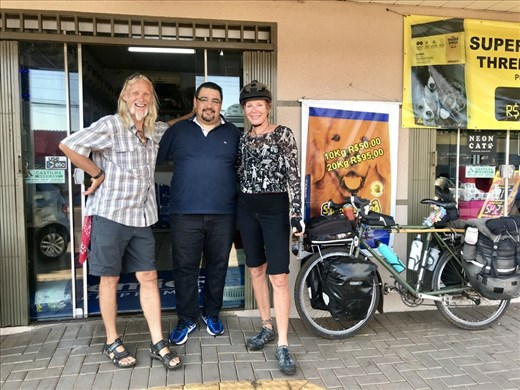 Saying good bye to our Casa Ciclista host!