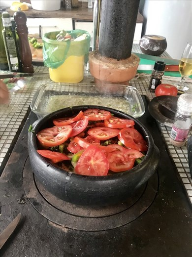 More moqueca on this cool/hot oven in Renato's house!