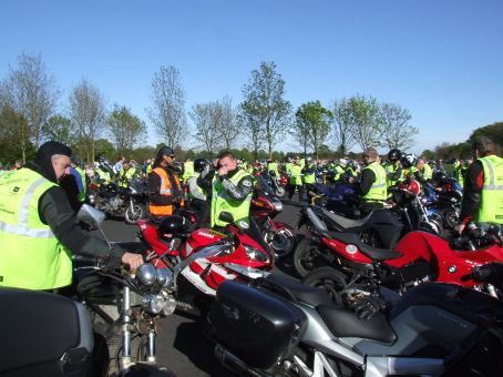 Arriving at Phoenix Park the next day for the big Revup for DSI (imagine 160 bikes all on the gas at once!!!).