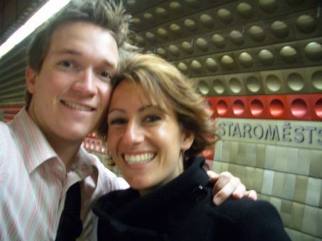 Brett and Maria going underground at Staromestska metro station - loving it in Prague!