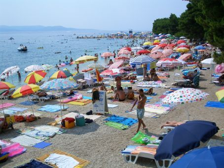 Markarska - Croatia's answer to Bondi beach. Be sure to bring your rubber mats for lying on the rocky sand, rubber shoes for walking anywhere, and blow-up bed for floating - not surfing - in the water.