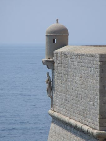 One of the many cornerposts of the wall, guarded by St Blaise on all sides - who has watched over Dubrovnik for centuries.