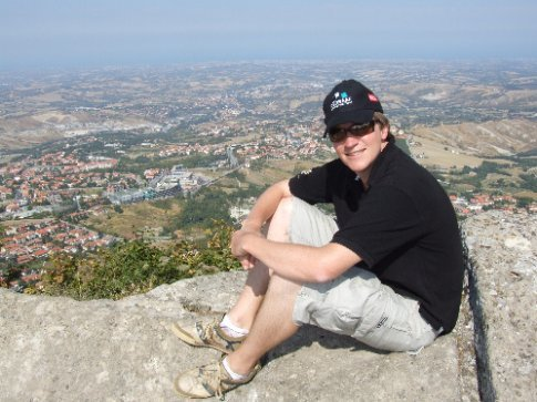 Perched atop the rocky peak. The Misano World Circuit is literally above the top of my hat.