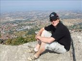 Perched atop the rocky peak. The Misano World Circuit is literally above the top of my hat.: by maria_brett, Views[254]
