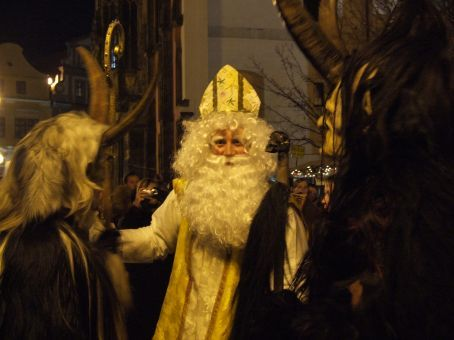 The real St Nick, keeping a close watch over his underlings.