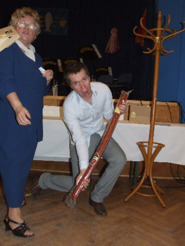 So it's entirely appropriate to come in swinging a 10ft man-made salami that weighs a tonne (ok, emphasis added), nearly knocking a babička custodian-of-tombola-prizes off her feet.