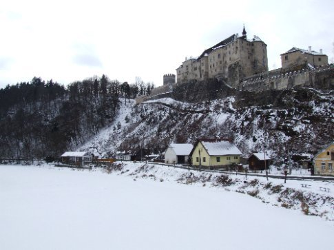 We popped in to Cesky Sternberk on our way back the next day (about 40ks out of Prague) and found the river entirely frozen over.
