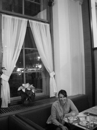 Inside the Opera House cafe. Slumming it, of course.