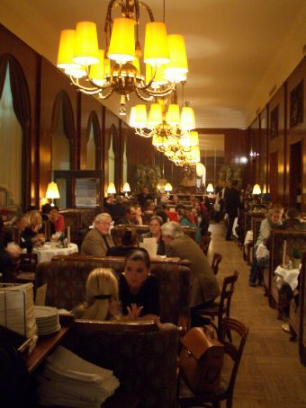 Inside the gorgeous Cafe Landtmann, one of Vienna's long-established cultural institutions! And a great place to while away 2 and a half hours reading all the English newspapers in sight, ordering various types of viennese coffees and, of course, indulging in an apple strudel. Mmmmm!