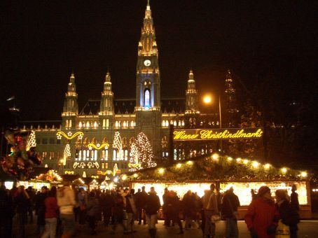 Vienna's Christkindlmarkt in front of the Town Hall. We've arrived!