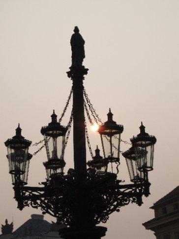 Daybreak at Hradcanske Namesti, in front of Prague Castle