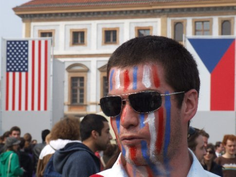 This guy's not sure if he's Czech, or American, or both. Well, he probably is. There's a load of US-born Czechs who now live in Cz or come here to get in touch with their heritage. Or he's just trying out the new range of face zinc fashion colours that are doing the rounds.