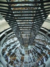 Inside the upper dome of the Reichstag, where members of the public can peer down into the House - transparent democracy at work!: by maria_brett, Views[350]