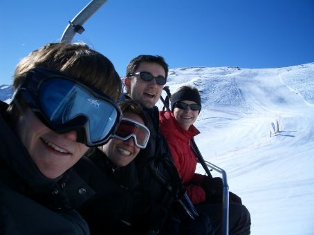 The Fabulous Four, looking fabulously relaxed and ready for fours days of fun under blue skies. Day one - Sillian, Austria.
