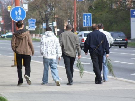 Perhaps tradition has bypassed some - who went straight from willow tree to the streets without braiding or attaching the decorative ribbon to their pomlazkas. Interesting.